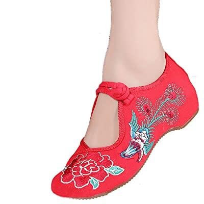 Liveinu Women's Peony Embroidery Mary Jane Prom Shoes