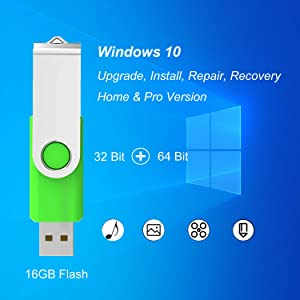 ILamourCar USB Compatible with Windows 10 Home&Professional 32&64 Bit&Antivirus Recovery Repair Reinstall Clean Reboot Restore Fix Update Bootable 16GB Flash Drive for Desktop&Laptop -Green