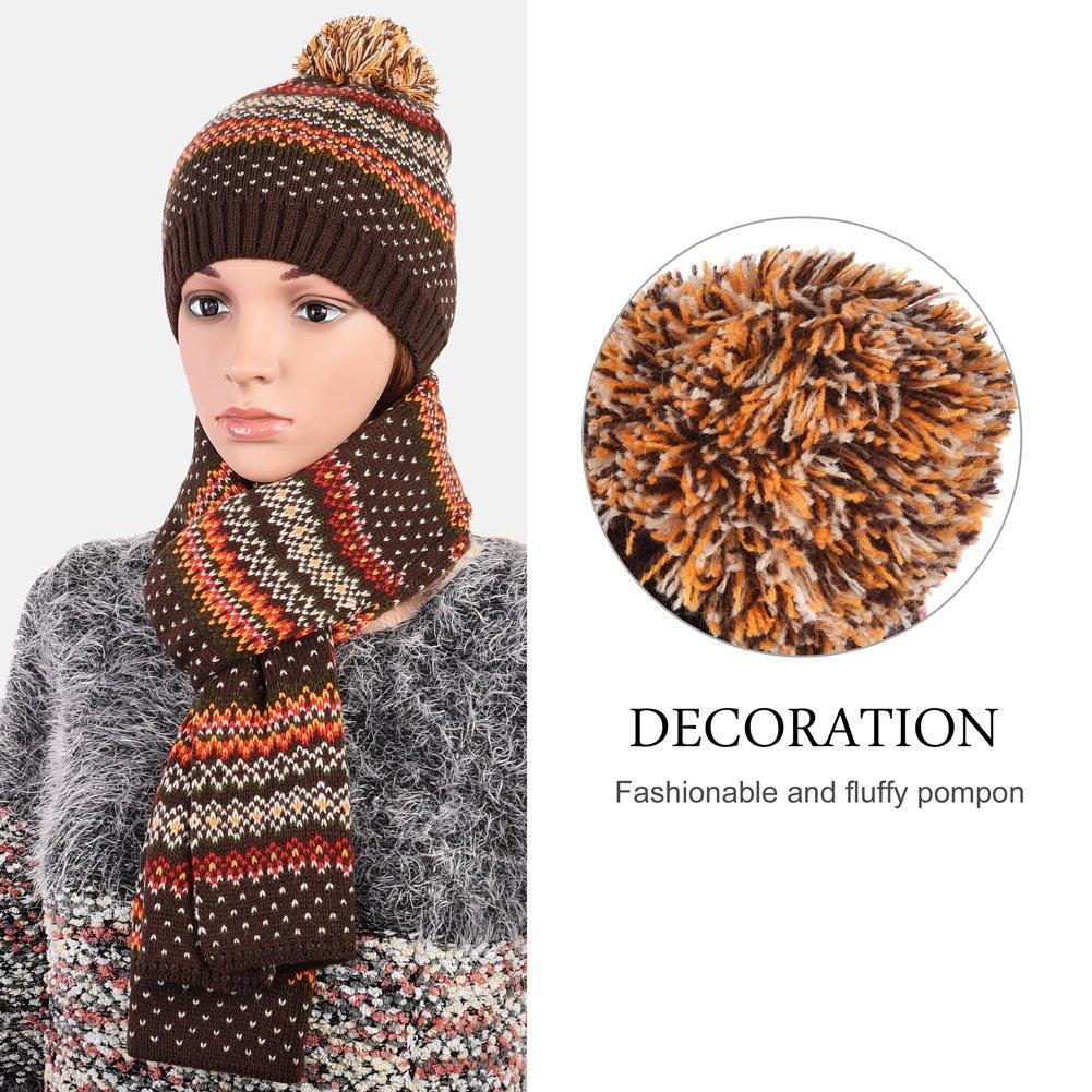 Vbiger Wintermütze klassische Beanie Mütze Damen Mütze und Schal Warm Strickmütze und Strickschal 2 PCS, Kaffee+, Einheitsgröße
