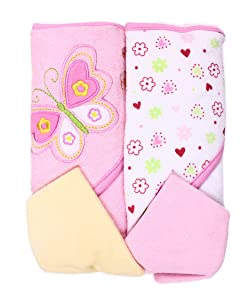 Spasilk Hooded Terry Bath Towel with Washcloths, Butterfly Pink, 2-Count