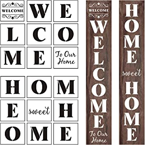 Welcome and Home Sweet Home Stencil - 18 Pack Large Vertical Welcome and Home Sweet Home Sign Stencils Templates for Painting on Wood, Reusable Letter Stencils for Porch Signs & Front Door Decorations