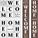 Welcome and Home Sweet Home Stencil - 18 Pack Large Vertical Welcome and Home Sweet Home Sign Stencils Templates for…