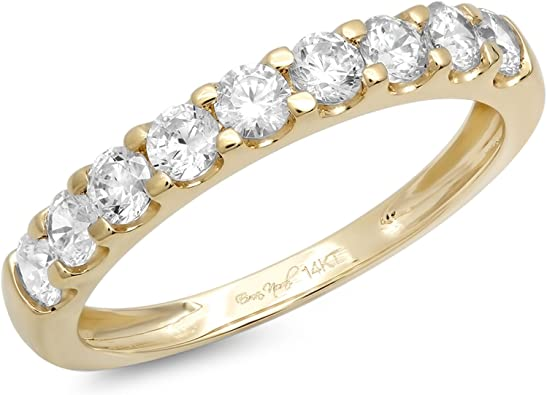 0.95ct Round Stackable Bridal Wedding Petite Anniversary Band 14k Yellow Gold