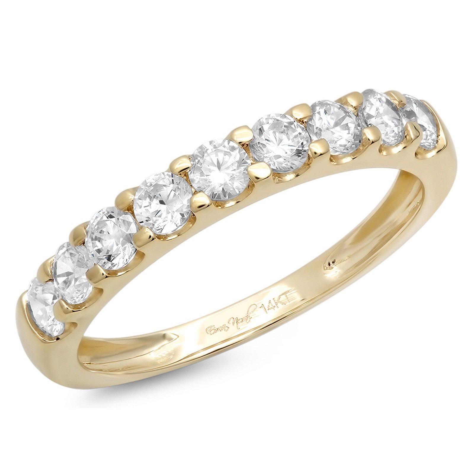 1.2 Ct Round Cut Designer Pave Engagement Wedding Bridal Anniversary Ring Band 14K Yellow Gold, Size 6.5, Clara Pucci