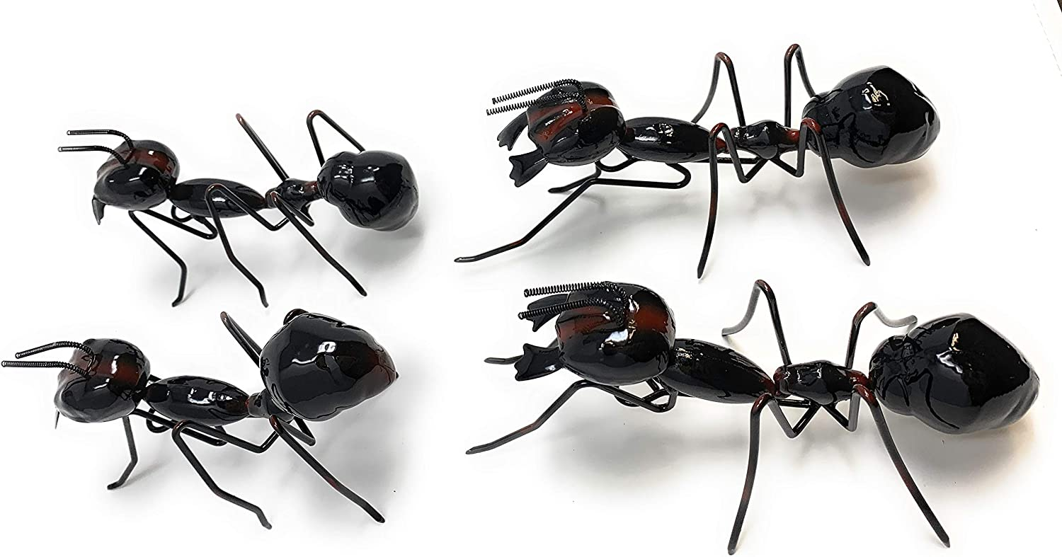 Green Tree Products Decorative Metal Ant Sculptures Wall Art, Set of 4 Indoor or Outdoor