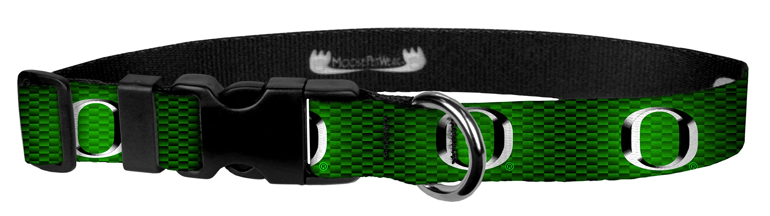 Moose Pet Wear Dog Collar - University of Oregon Ducks Adjustable Pet Collars, Made in The USA - 3/4 Inch Wide, Medium, Green Carbon Fiber Chrome O