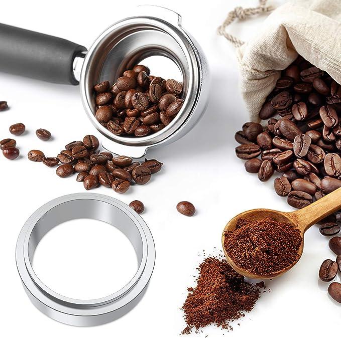 HBWHY 51MM Kaffee Dosierring Espresso Dosiertrichter Edelstahl Kaffee Dosierring Kompatibles Espresso Barista Tool,Gold