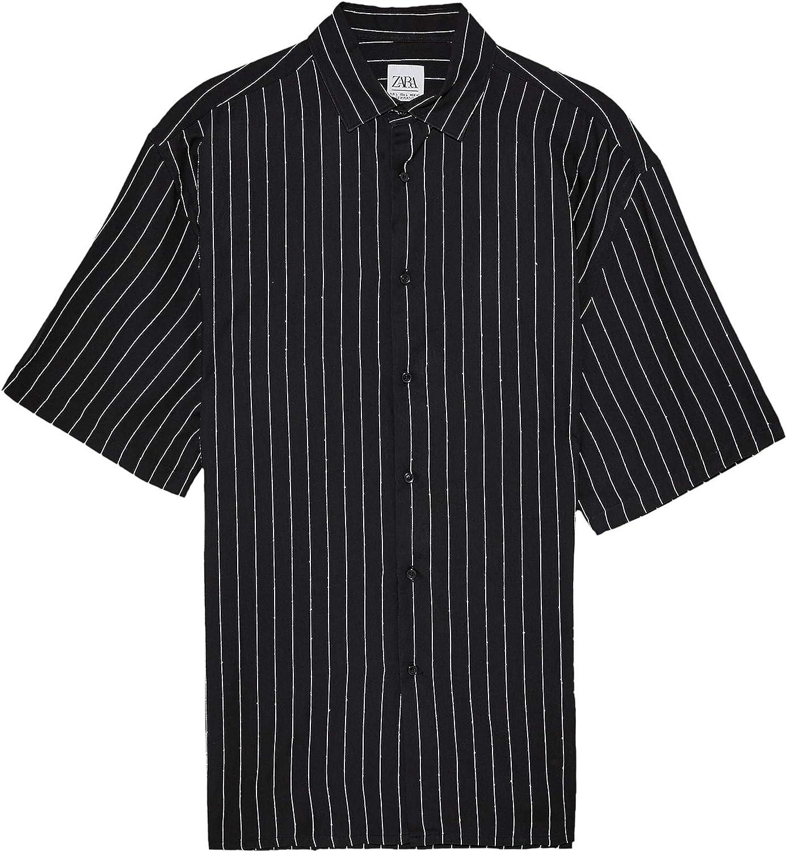 Zara 4260/489 - Camisa para Hombre, diseño de Rayas - Negro - Large: Amazon.es: Ropa y accesorios