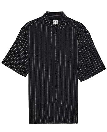 Zara 4260/489 - Camisa para Hombre, diseño de Rayas - Negro ...