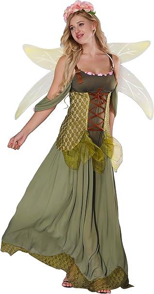 Feen-Kleid Fee Elfe Waldelfe Kostüm Damen Frauen Fantasy Märchen Verkleidung