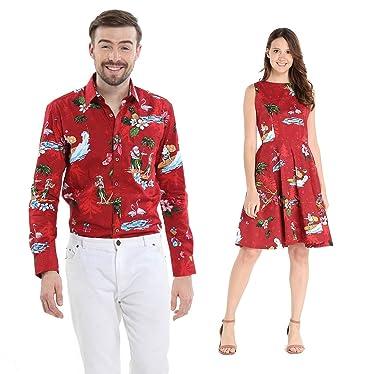 4fc2ae10 Couple Matching Hawaiian Luau Cruise Outfit Shirt Vintage Dress Christmas  Santa in Hawaii Red Men 2XL