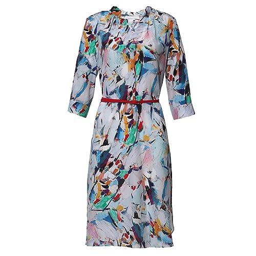 Vestido De Seda De La Impresión De Las Mujeres,Color-S