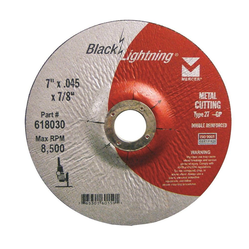 Mercer Industries 618030 Type 27 Depressed Center Black Lightning Cut-Off Wheels for Metal (25 Pack), 7'' x .045 x 7/8''