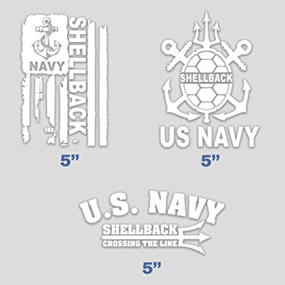 Set of 3 United States Navy Shellback Sticker Flag Trusty Crossing The LINE U.S. Vinyl for Car Truck Bumper Decal Window 5 in: Clothing