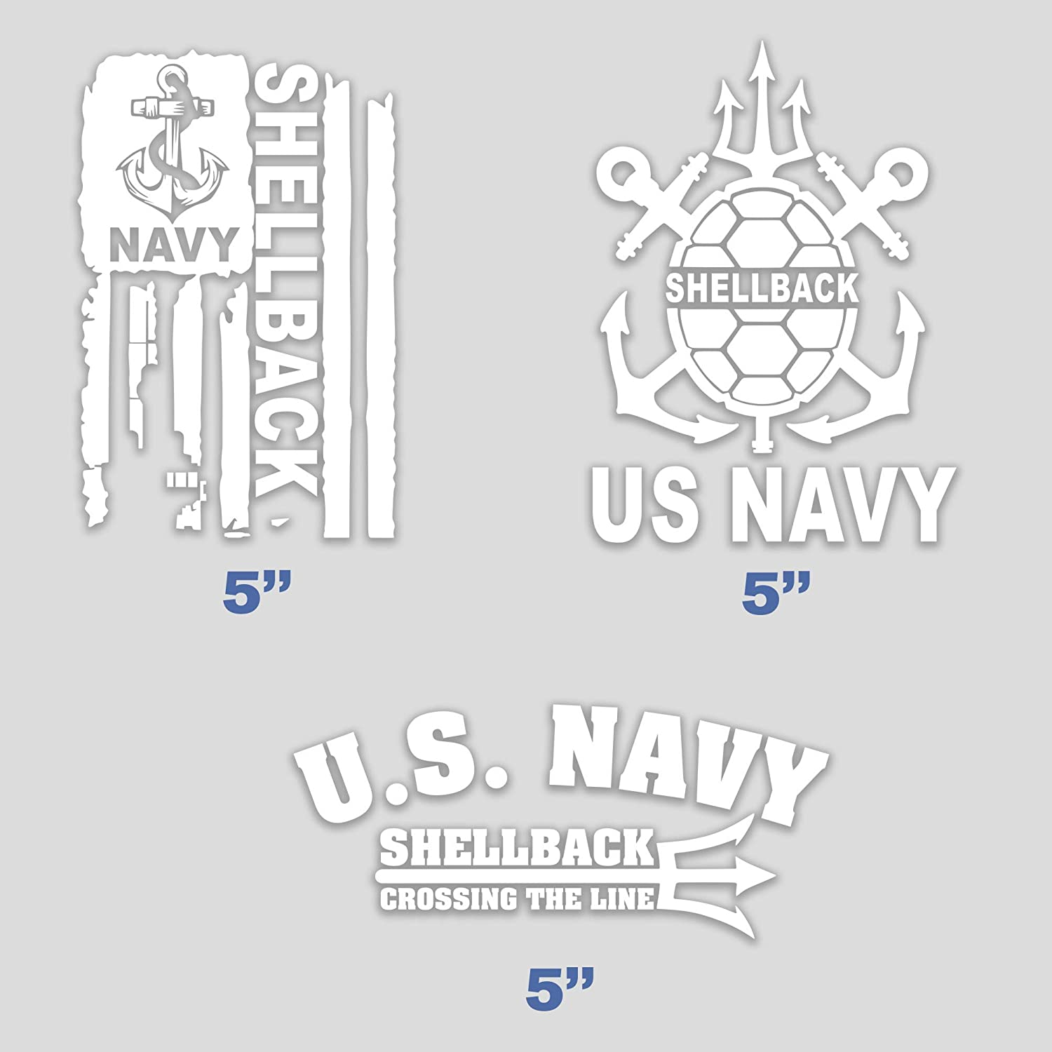 Set of 3 United States Navy Shellback Sticker Flag Trusty Crossing The LINE U.S. Vinyl for Car Truck Bumper Decal Window 5 in
