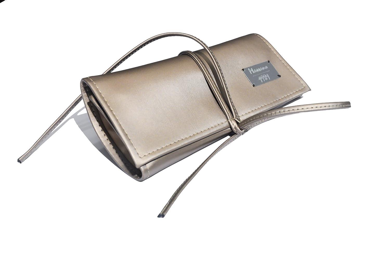 Reise Schmuckrolle Massano 1981, realisiert in Satin Bronze Eco Leder und Flockstoff, 100% handgemacht in Italien