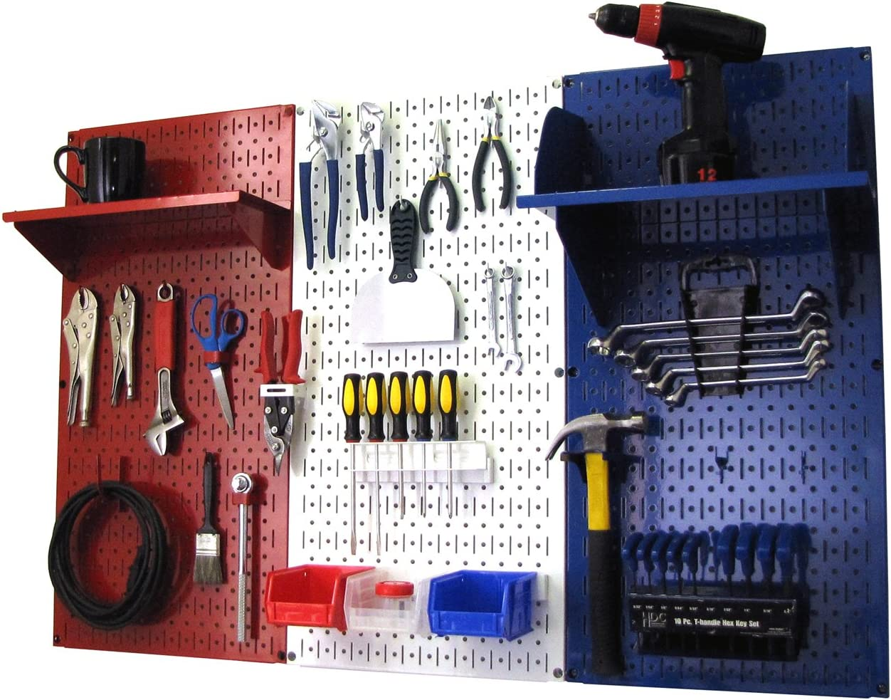 Wall Control Patriot Pegboard Organizer American Made 4ft Metal Pegboard Tool Storage Kit Made in The USA