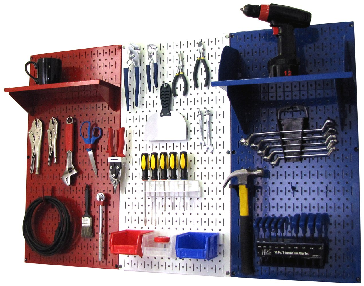 Patriot Pegboard Organizer American Made 4ft Metal Pegboard Tool Storage Kit by Wall Control - Made in the USA
