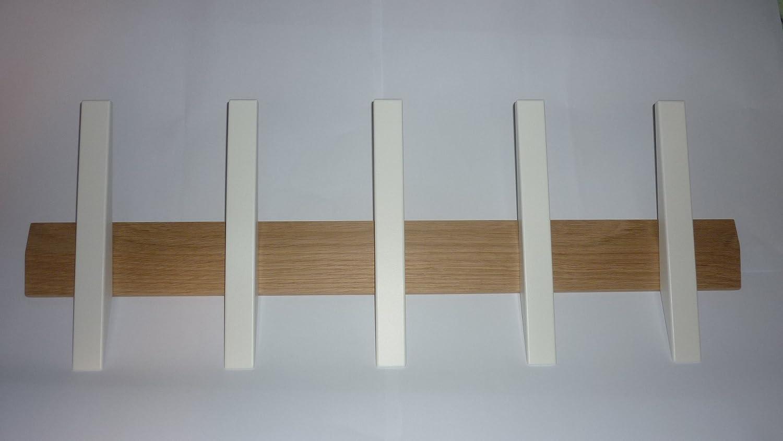 Hoigaard Design A S Garderobenleiste mit 5 Haken Tangent 5 Eiche gekalkt   Hakenfarbe WEISS - Groesse 24x64x8cm (HxBxT) B00EVQ9NRU Kleiderhaken
