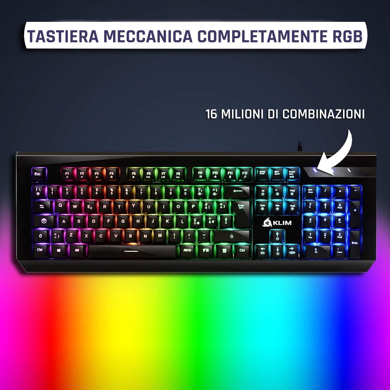 ⭐️KLIM Domination - Teclado ITALIAN Mecánico RGB - Nueva Versión - Interruptores Azules - Tecleo Rápido, Preciso & Cómodo - 5 Años de Garantía - ...