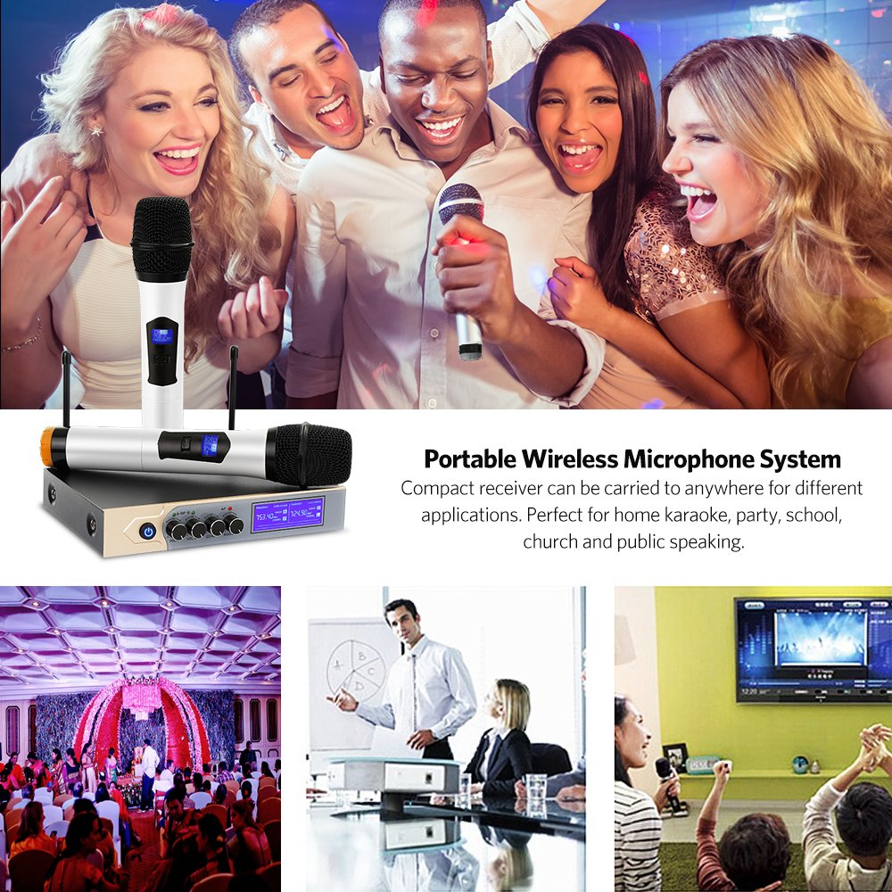 UHF Wireless Microphone System, Dual Handheld Karaoke Microphone with 2 Handheld Mics for Home KTV,Church,Small karaoke Night, Outdoor Wedding, Conference, Speech by Tsumbay (Image #7)