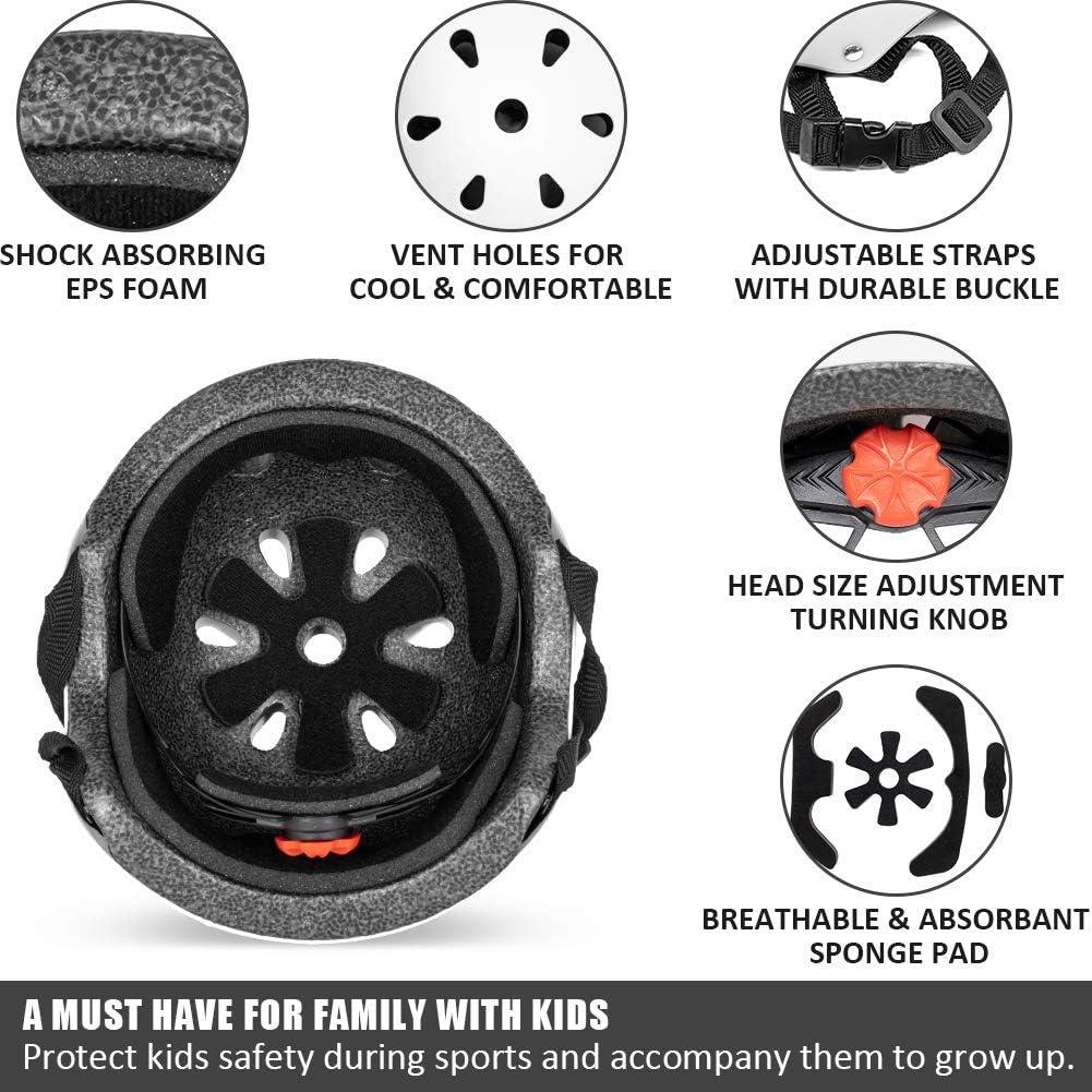 Multi-Sport Safety Cycling Skating Scooter Roller Skateboarding BMX Helmet Impact Resistant /& Ventilation Kids Helmet Bike Adjustable Toddler Skateboard Helmet for Boys Girls Ages 3-8 Years Old