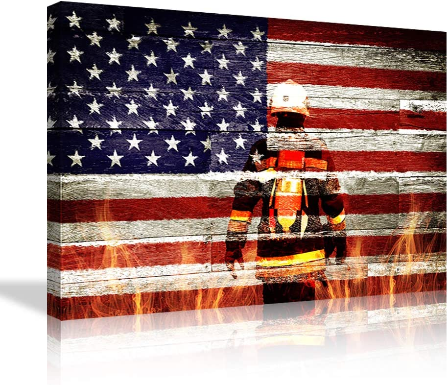 Amazon Com Large Firefighters Fireman In American Flag Canvas Wall Art Prints Home Decor Decals Gifts For Living Room Modern Pictures Artwork Large Posters Hd Printed Painting Framed Ready To Hang Everything Else