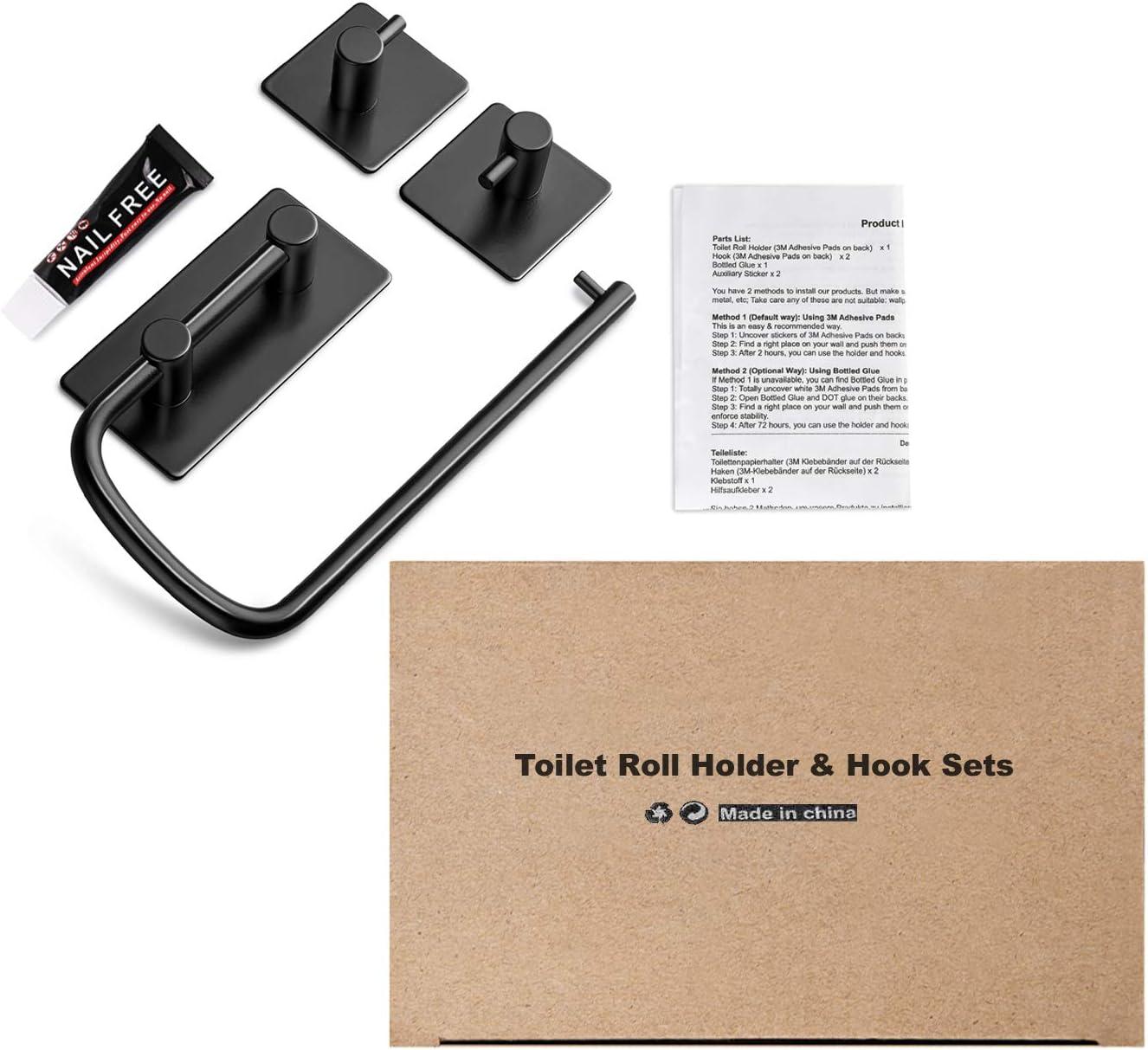 adhesivo 3M by negro Set de portarrollos para papel higi/énico y 2 ganchos multiuso de acero inoxidable 304 Umi para ba/ño y cocina