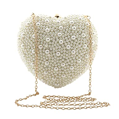 Zakia Heart Shaped Pearl Bag With Chain For Party Wedding Dinner (Cream)