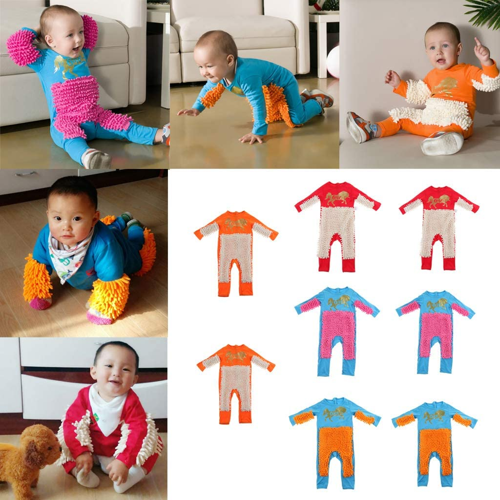 Baby Overall Long Sleeve Mop Climbing Clothes Floor Clean Swob Play Jumpsuit