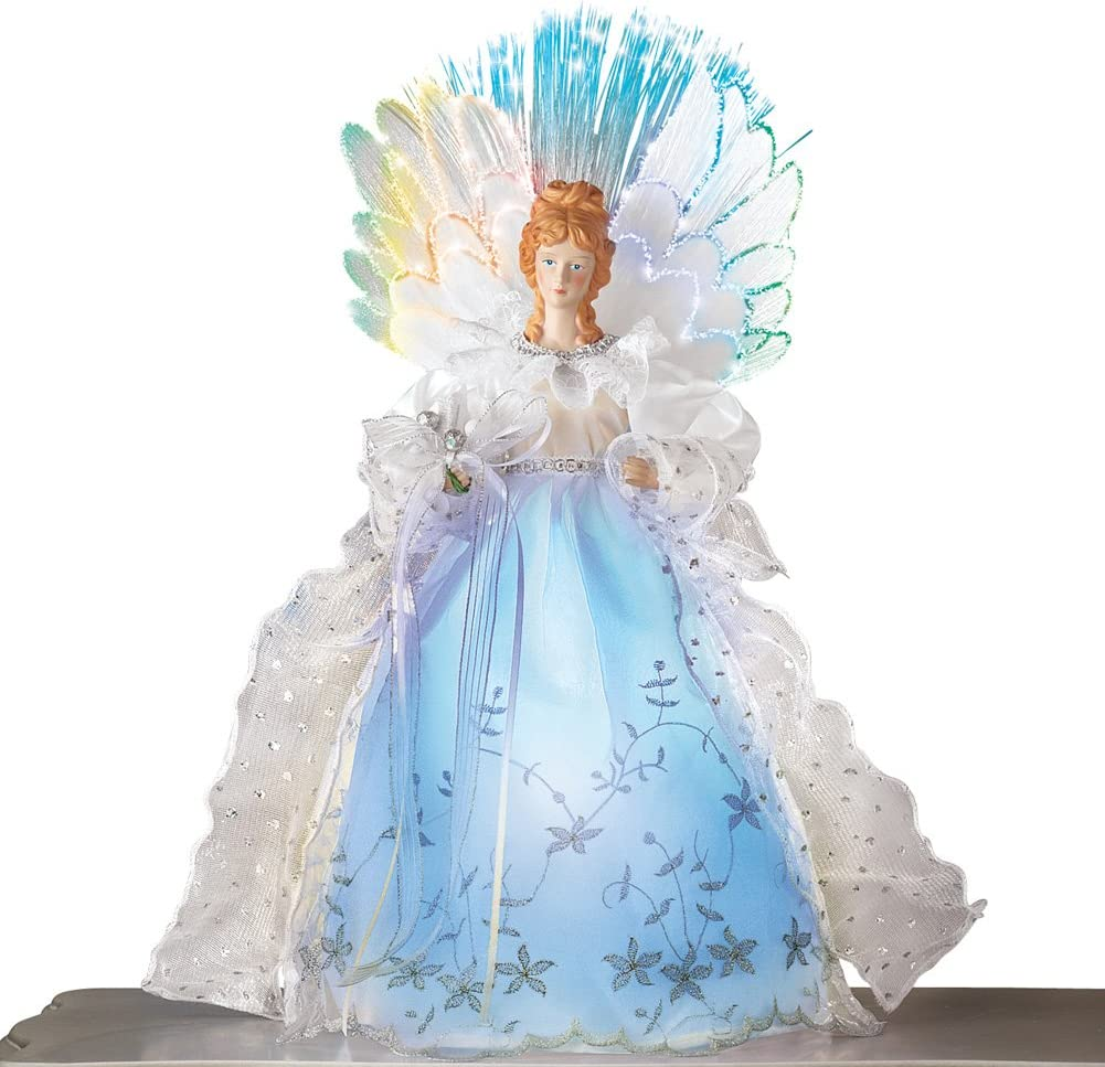 Amazon Com Fiber Optic Winter Angel Christmas Tabletop Figurine Decoration With White Lace Gown And Color Changing Wings Home Kitchen