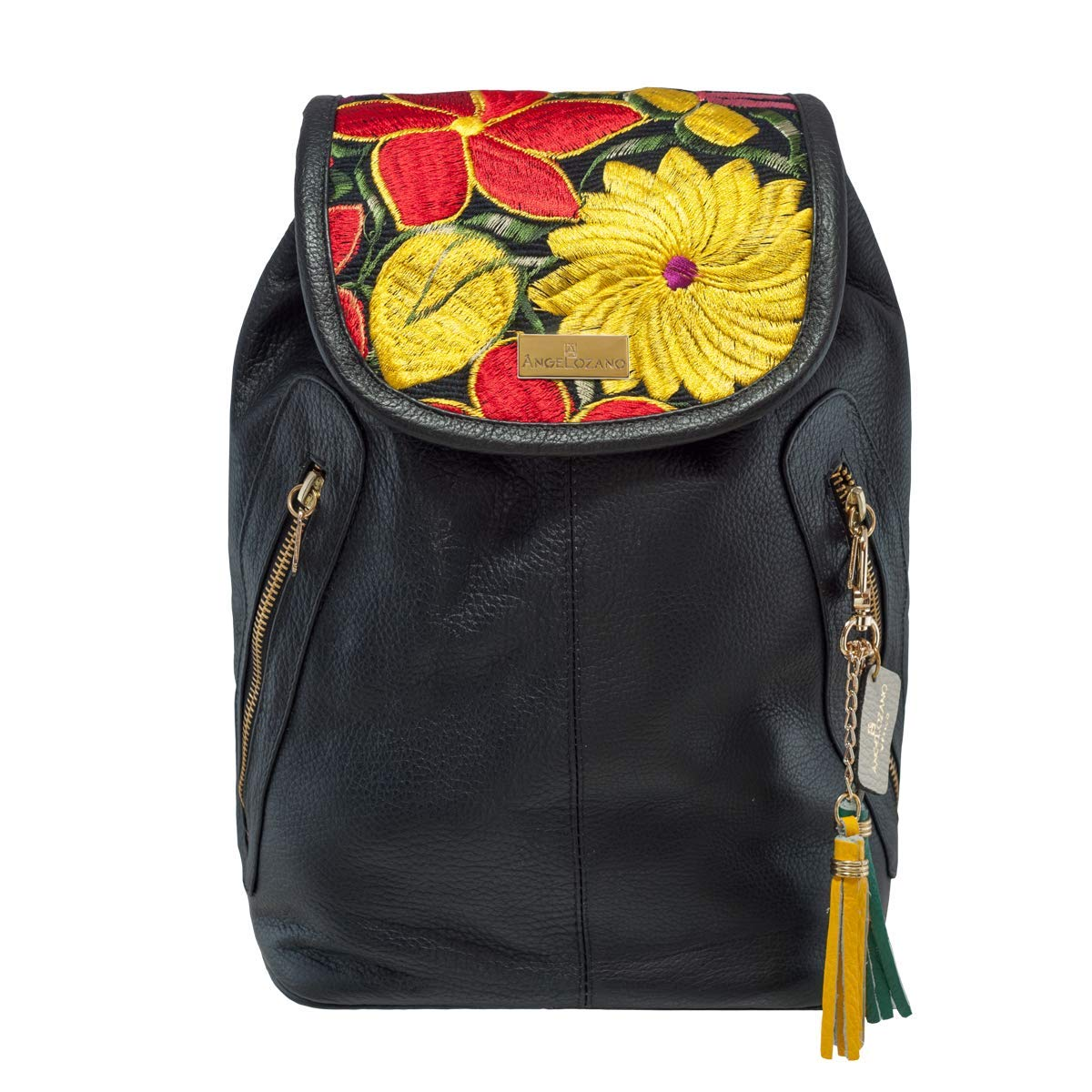 Amazon.com: Black Galilea model leather Bag with Artisan Embroidery. Original AngeLozano Brand. 10.24 x 5.91 x 11.42 inches: Handmade
