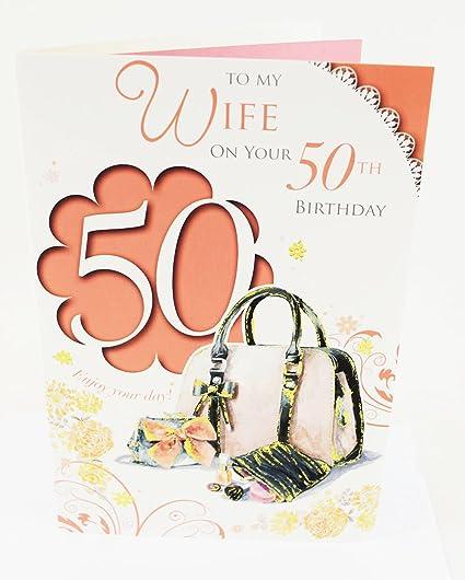 Happy 50th Cumpleaños para esposa Versículo de la tarjeta ...