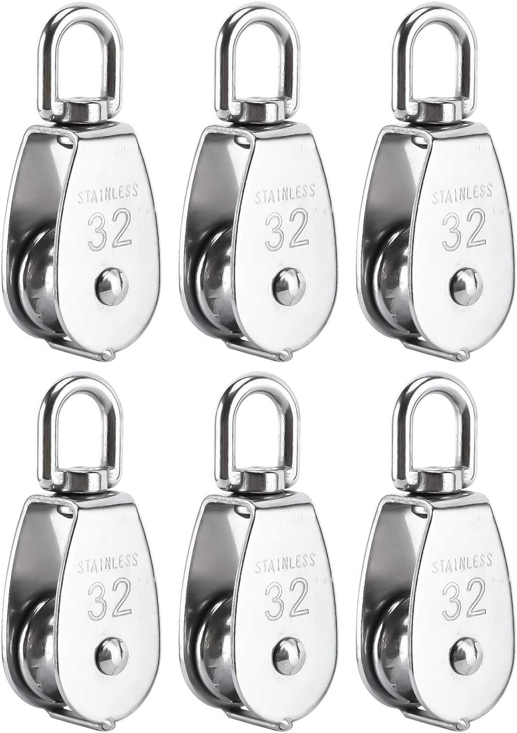 304 Stainless Steel Heavy Duty Single Wheel Swivel Lifting Rope Pulley Block BNYZWOT 6 Pack M32 Lifting Single Pulley Roller Loading 551Ibs