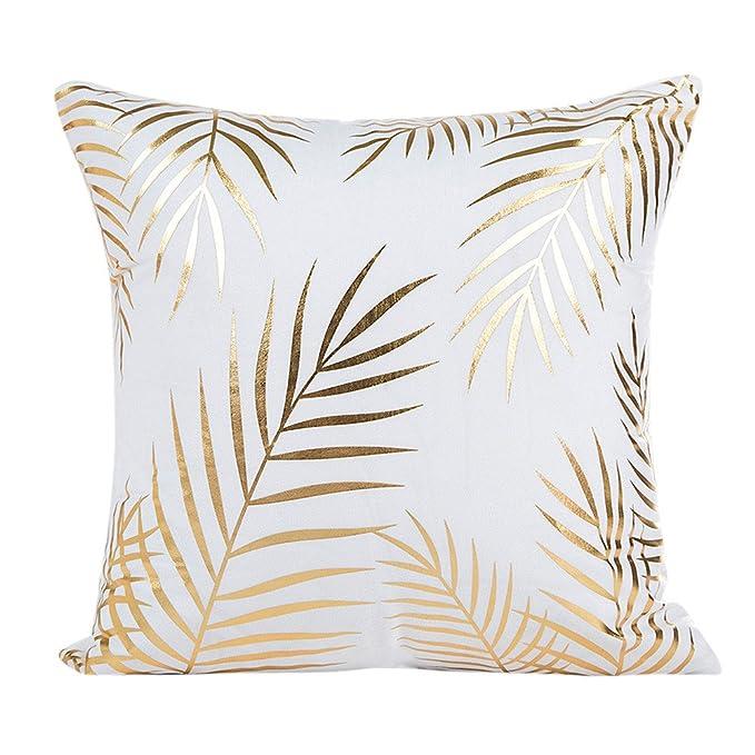 VJGOAL Súper Suave Funda de Almohada de impresión de la Hoja de Oro sofá Cintura Funda de cojín decoración para el hogar Funda de Almohada