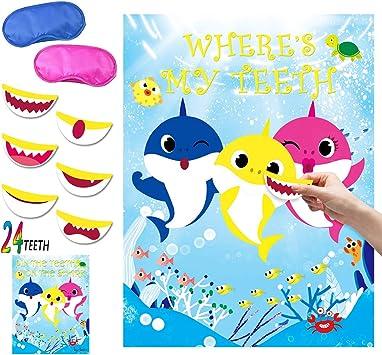 Amazon.com: Juego de fiesta de tiburón Pin the Teeth on ...