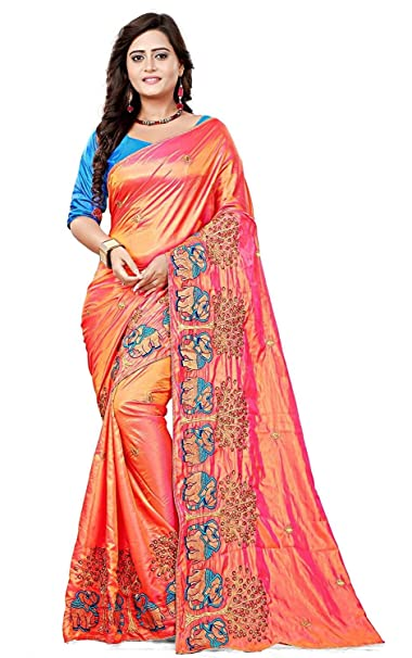 b591d508669370 Radiance Star Women s Silk Elephant Design Embroidery Work Saree with Blouse  Piece  Amazon.in  Clothing   Accessories
