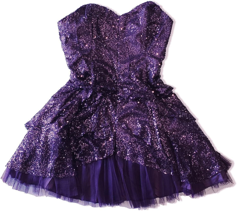 Purple Detachable Strap Sequin Sparkle Cocktail Party Prom Mini Dress