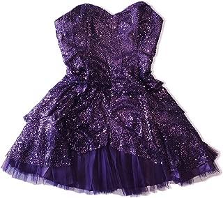 product image for Purple Detachable Strap Sequin Sparkle Cocktail Party Prom Mini Dress