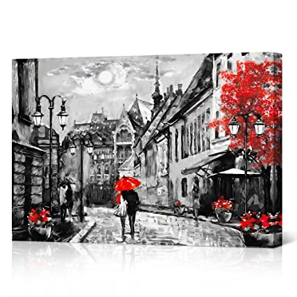 Amazoncom Vvovv Wall Decor Black White And Red Umbrella Couple