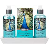 3 Piece Lovely Ocean Mint Body & Bath Peacock Gift Set with Ceramic Tray - Includes Shower Gel, Bath Salts and Bubble Bath