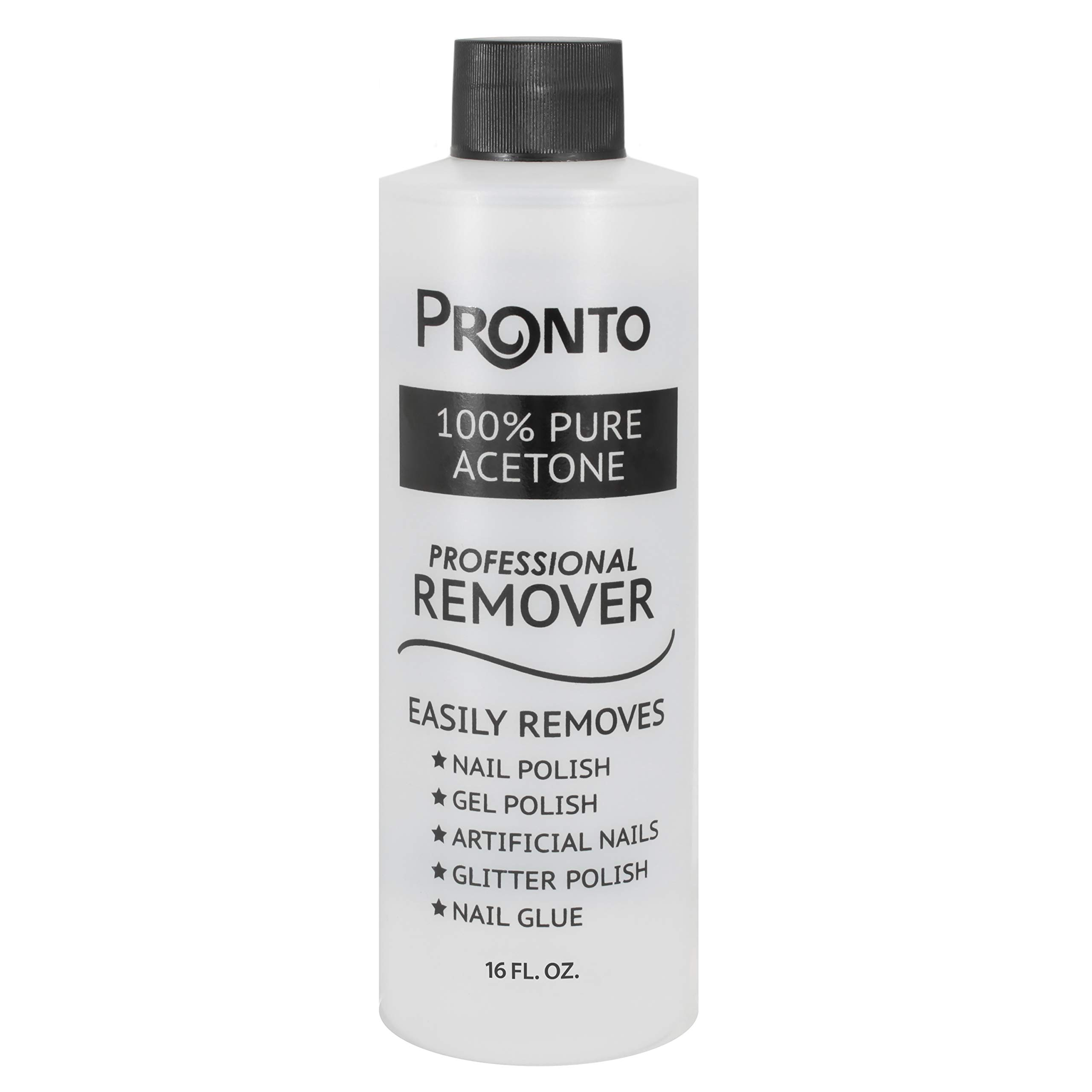 Pronto 100% Pure Acetone - Quick, Professional Nail Polish Remover - For Natural, Gel, Acrylic, Sculptured Nails (16 Ounces) by Pronto