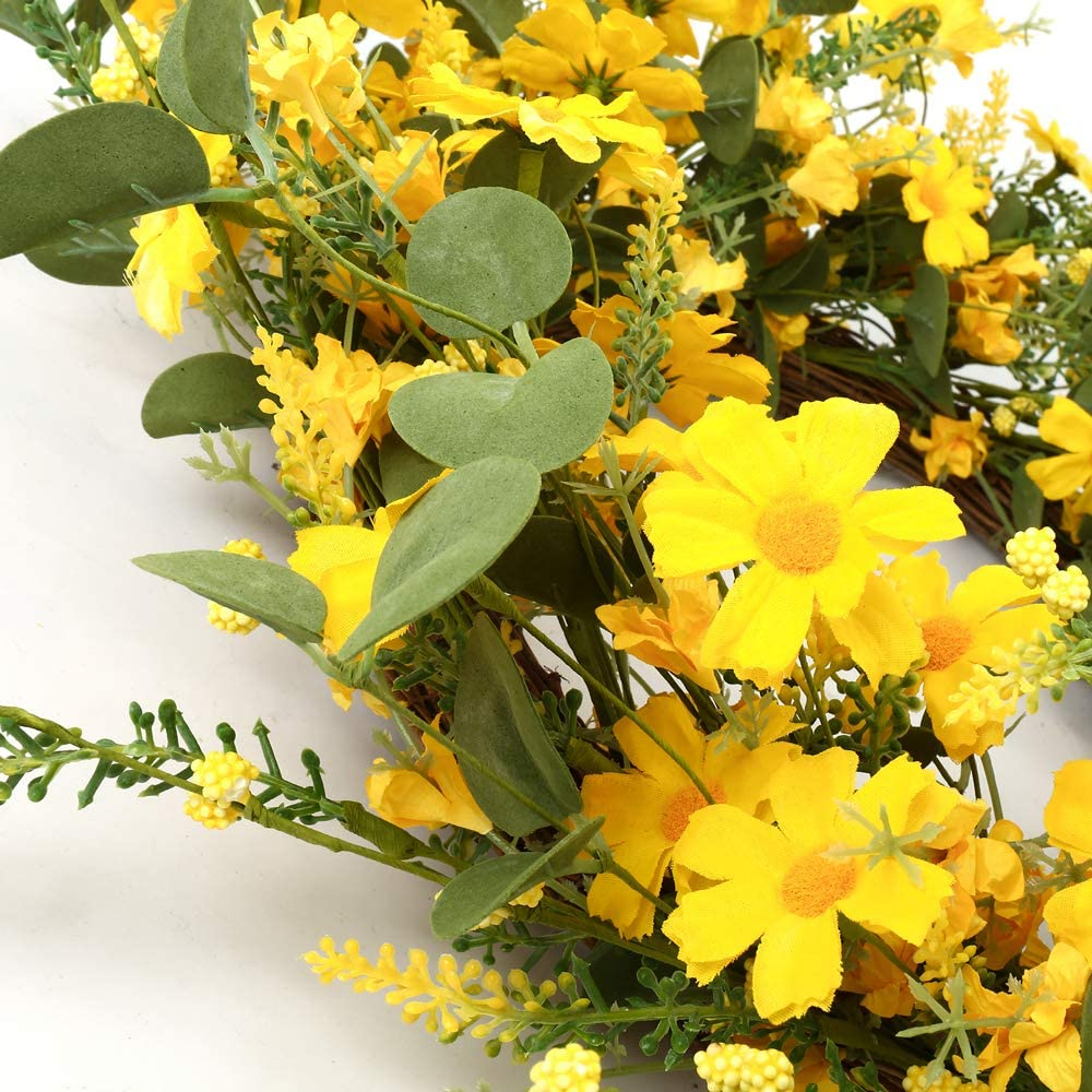 Fri-Collection door wreath autumn wreath with yellow straw flower hand work yellow 38 cm