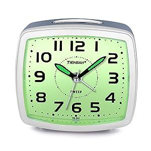 Juboos Silent Non Ticking Analog Alarm Clock with Nightlight Snooze Travel Alarm Clock Silent Sweep Second Hand, Lightweight Analog Quartz Clocks for Bedrooms (Light Blue)