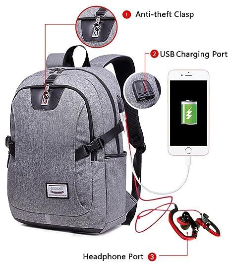 Business ordenador portátil mochila escuela College Bookbag Bolsa de viaje con USB puerto de carga,