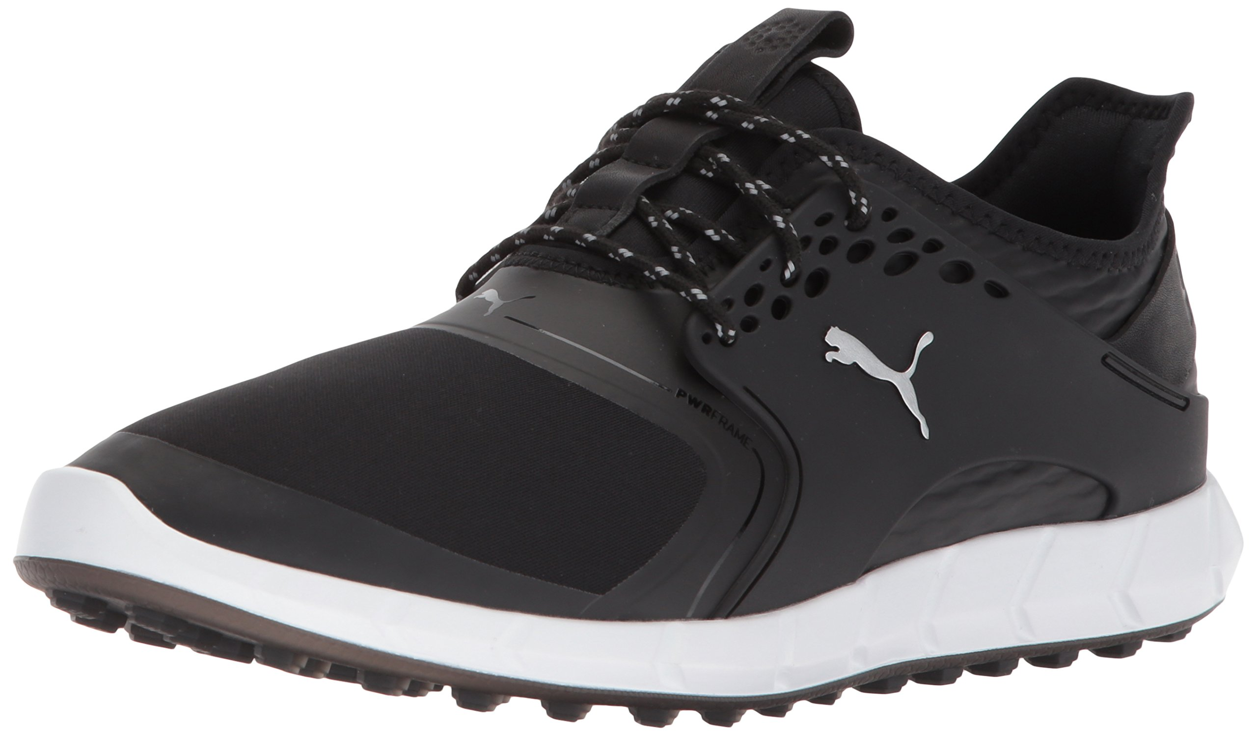 Puma Golf Men's Ignite Pwrsport Golf Shoe, Black/Silver, 7 Medium US