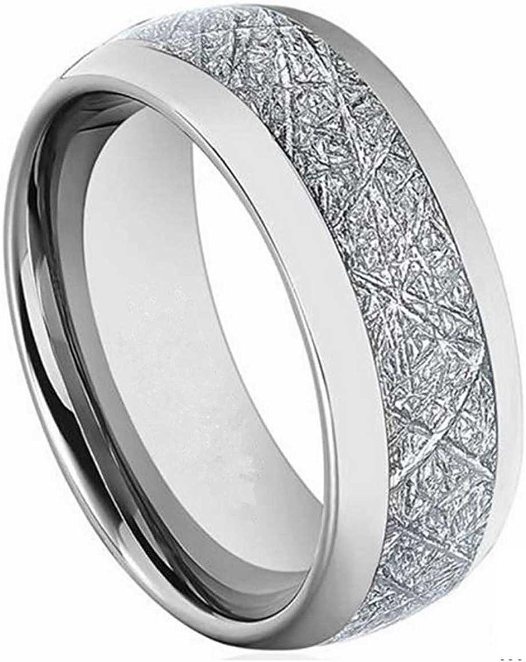 LAMUCH Men Women 8MM Wide Inlaid Silver Carbon Steel Tungsten Ring