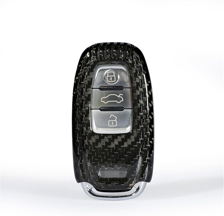 M.JVisun Genuine Carbon Fiber Key Fob Cover for Audi A4 A4L A5 A6 A6L A7 A8 Q5 SQ5 RS5 RS7 S4 S5 S6 S7 S8 Smart Car Remote Key, Men's Car Key Fob Case Women's Fob Cover - Black