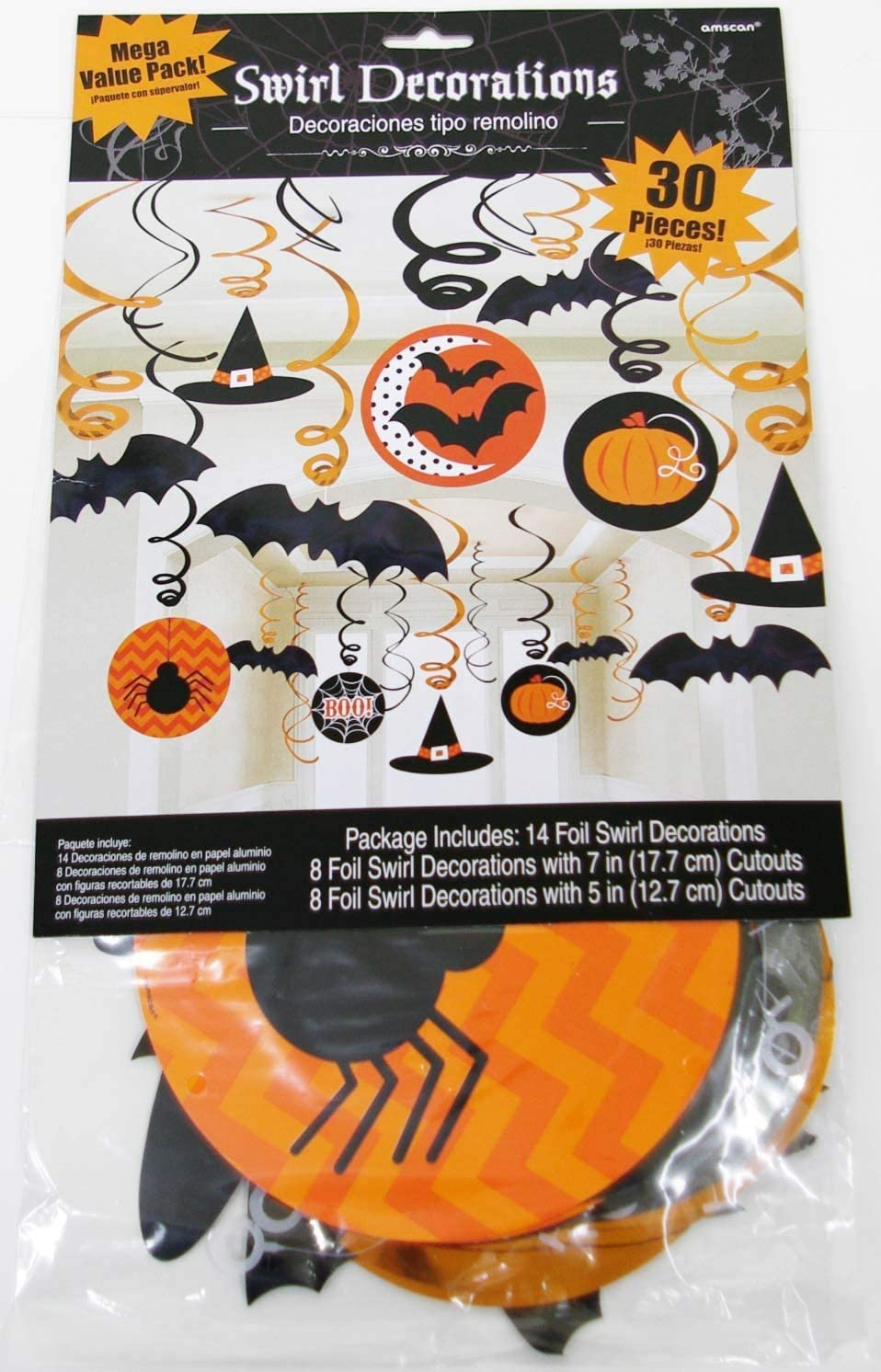 Haloween Foil Swirl Decoation 10 Pack New
