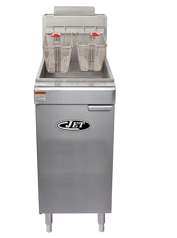 Jet JFF3-40L Stainless Steel Commercial Heavy Duty Floor Gas Deep Fryer 90,000BTU Per Hour Adjustable Temp for Restaurant Hotel Bar Kitchen with Drain Liquid Propane LP Gas, 40 Pound 3 Tube, Metallic